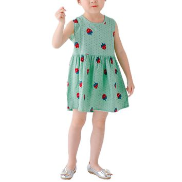 Onesdar Infant Toddler Little Girls Dress Strawberry Print Sleeveless Linen Party Sundres