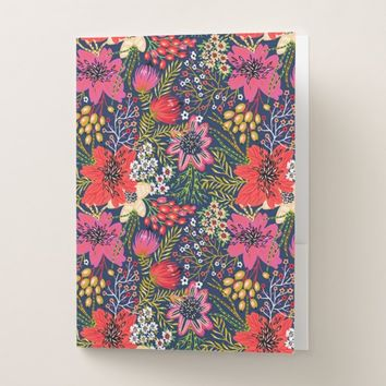 Vintage Bright Floral Pattern Fabric Pocket Folder
