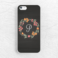 Chalkboard floral flower Monogram Initial Phone Case for iPhone 6, iPhone 5 5s 5c, Sony z1 z3 compact, LG G3, Moto X Moto G monogrammed Case