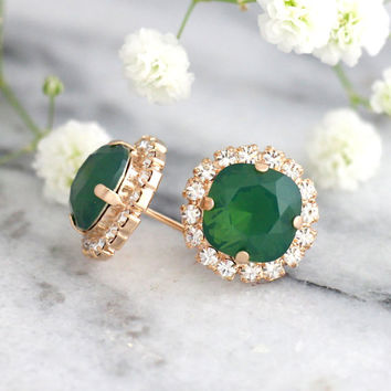 Emerald Earrings, Bridal Emerald Swarovski Earrings, Green Emerald Crystal Earrings, Green Opal Earrings, Bridesmaids Emerald Stud Earrings