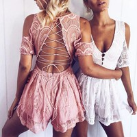 Boho Inspired playsuit sexy back Crossed Lace-Up Strapless Lace Romper V-neck lace cold shoulder hippie chic women's romper