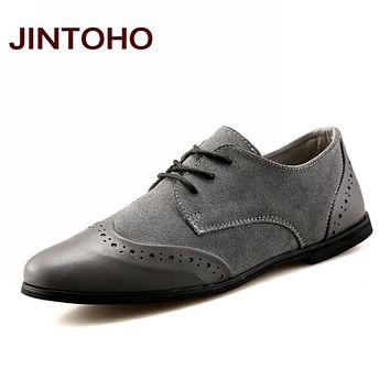 Fashion Breathable Men Casual Shoes Pointed Toe Flats Men Leather Shoes Lace Up Rubber Male