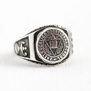 Vintage Class Ring - Retro Silver Sterling East Cocalico Vocational School Signet - 1950s Size 5 Pennsylvania Education Repousse Jewelry