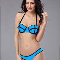 Blue Halter Push Up Bikini