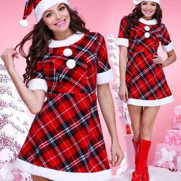 Plaid Print Christmas Costumes Dress