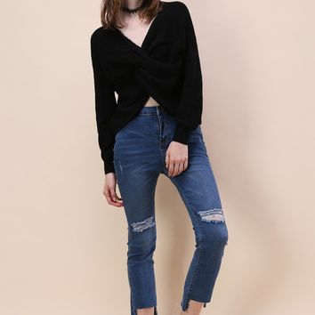 Nifty Twist Sweater in Black
