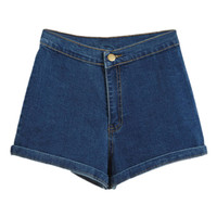 ROMWE High Waist Rolled Dark-blue Denim Shorts
