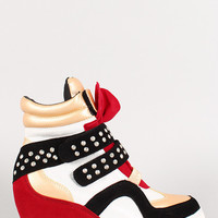 Studded Metallic Glitter Sneaker Wedge
