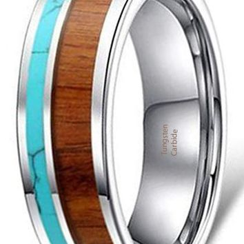 CERTIFIED 6mm Tungsten Ring Vintage Wedding Band Koa Wood Solid Turquoise Flat