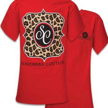 Southern Couture Preppy Classic Leopard Logo T-Shirt