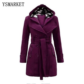 JACKET Wool Long Sleeve Double-Breasted Long Coat Women Plaid Hooded Coat