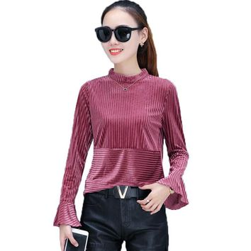 Velvet Blouses 2017 Fashion Velvet Flare Sleeve Casual Shirt Women Tops Ribbed Elegant Ladies Blouse Plus Size 3XL Camisas Mujer