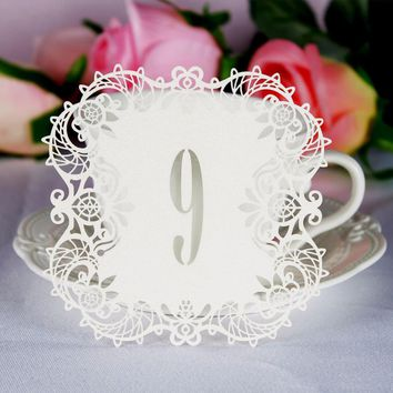 Ourwarm 10pcs/set Wedding Table Number Table Cards Hollow Laser Cut Card Numbers Vintage Wedding Decoration Event Party Supplies