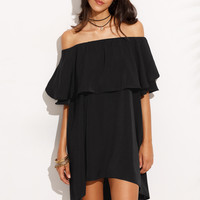 Black Off The Shoulder Ruffle Dip Hem Shift Dress