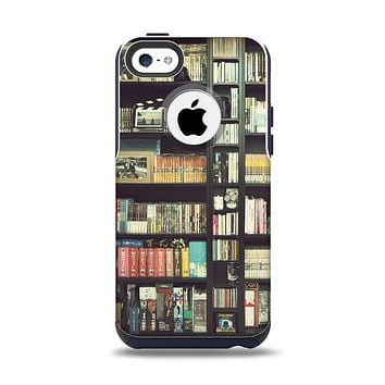 The Vintage Bookcase V2 Apple iPhone 5c Otterbox Commuter Case Skin Set