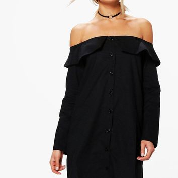Zila Off Shoulder Shirt Dress | Boohoo