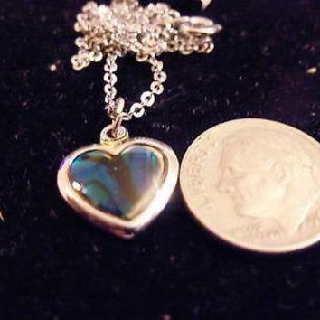 bling sterling silver abalone paua shell heart charm chain necklace hip hop sea