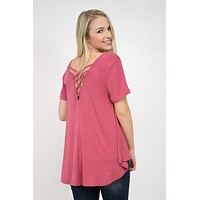 Short Sleeve Cross Back Top