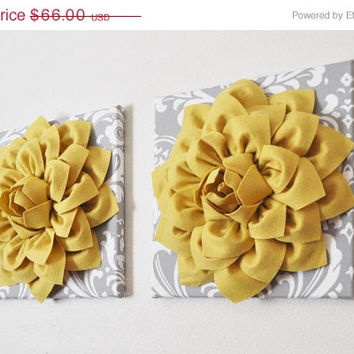 "MOTHERS DAY SALE Two Flower Wall Hangings -Mellow Yellow Dahlia on Gray and White Damask 12 x12"" Canvas Wall Art- Baby Nursery Wall Decor-"