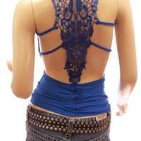 PattyBoutik Sexiest & Stunning Lace Back Ruched Halter Clubwear Top
