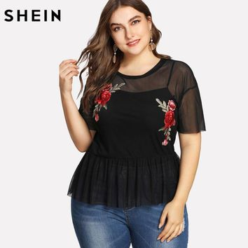 SHEIN Plus Size Summer Black Blouse Women Sexy Floral Round Neck Short Sleeve Embroidered Rose Applique Ruffle Mesh Slim Top