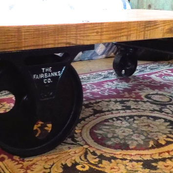 Newly restored Fairbanks Steampunk Railroad Coffee Table Cart