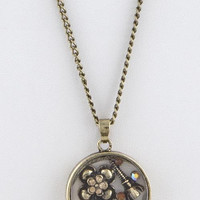 PARIS ORNATE FLOATING LOCKET LONG NECKLACE