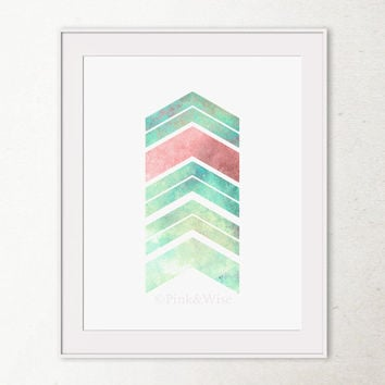 Chevron Art Print Chevron Arrows Art Print, Printable Wall Art, Turquoise and Pink Geometric art print, Chevron wall art, Abstract art print