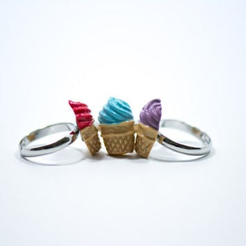 3 Colorful Ice Cream Rings, Polymer Clay Ring, Ice Cream Rings