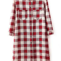 Red Plaid Lapel Long Sleeve Pockets Long Line Blouse
