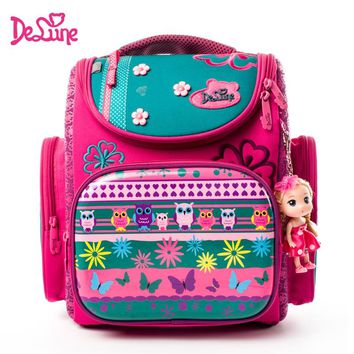Delune School Bags for Girls Children Backpack High Quality Bookbag Primary Students Backpack Princess Schoolbag for 1 2 3 grade