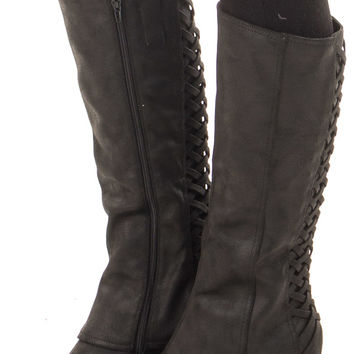 Black Faux Leather Overlay Boot with Braided Back Detail