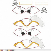 DIGITAL FILE Commander J. Hook Pirate villain cartoon Inspired 3D Felt Bow Felt Clippie In the Hoop Embroidery Design File