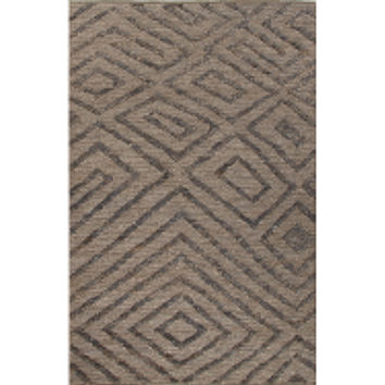 Naturals Tribal Pattern Gray/Black Jute Area Rug (2x3)