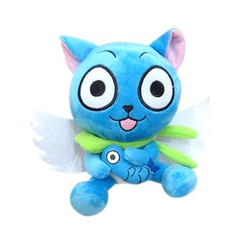 """Anime Fairy Tail Blue Happy Cat 18cm/7"""" Cute Plush Toy Stuffed Doll Arcade Prizes Gift Collection"""