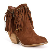 Not Rated Ankle Boots with Fringe for Women in Tan NRLB0054-251
