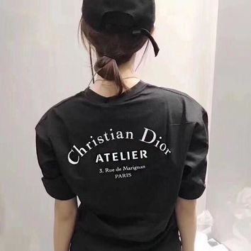 Christian Dior Fashionable Couple Casual Print T-Shirt Top Tee Blouse Black