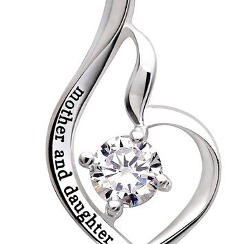 "Jewelry Sterling Silver ""mother and daughter"" Cubic Zirconia Pendant Necklace"