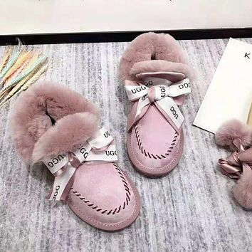 UGG Women Autumn And Winter High Quality New Fashion Ribbon Bow Keep Warm Snow Boots Shoes Pink