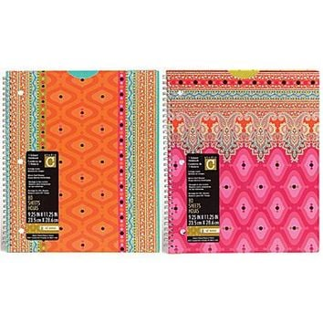 Studio C Taj Mahal 1-Subject Notebook, 10 1/2 x 8 1/2, 2/Pack