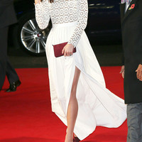 Long sleeves white dress/ embroidered/ slit on the side