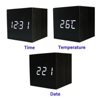 Cube Wood LED Alarm Clock - Time Temperature Date - Sound Control - Latest Generation