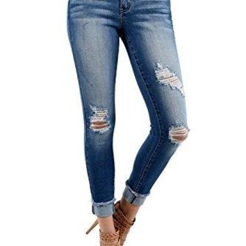 Kan Can Women's Mid Rise Destroyed Skinny Jeans KC5030