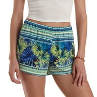 High-Waisted Tropical Print Dolphin Shorts