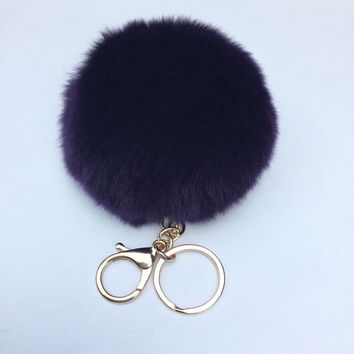 New! Deep purple Fur pom pom keychain fur puff ball bag pendant charm