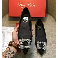 Roger Vivier Popular Women Casual Crystal Single Shoes Flat Pointy Shoes Black I-AHD-HNXG-ZD