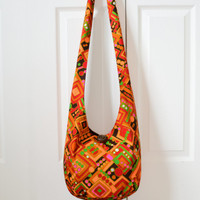 Hobo Bag, Vintage, Sling Bag, Geometric, Retro, Psychedelic, Red, Orange, Hot Pink, Green, Neon, Hippie Purse, Crossbody Bag
