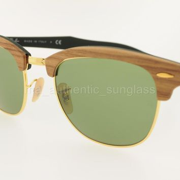 RAY-BAN SUNGLASSES RB 3016M 11824E 51MM WALNUT GREEN FRAME GREEN WOOD CLUBMASTER