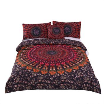 Floral Mandala Black & Red Boho Bedding Set