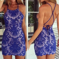 Blue Spaghetti Strap Backless Lace Dress